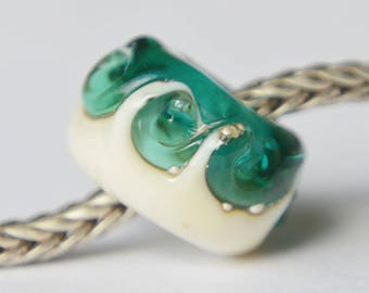 BHB - Unique Handmade Lampwork Glass European Charm Bead with Pure Silver - SRA - Fits all charm bracelets - Silver Core Options