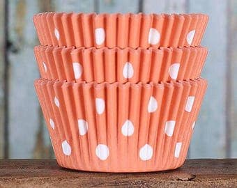 Orange Cupcake Liners, BakeBright Cupcake Liners, Orange Baking Cups, Orange Polka Dot Cupcake Liners, Cupcake Cases, Cupcake Wrappers (50)