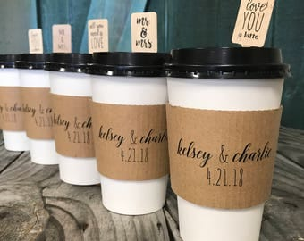 Personalized Printed Coffee Sleeves, White Cups and Black Lids - Pick Your Design - Recycled Natural Brown Kraft -  FREE U. S. SHIPPING