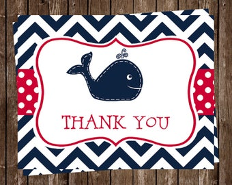 Whale, Thank You Cards, Nautical, Baby Shower, Birthday, Sprinkle, Red, Navy, Little Squirt, Blue, 24 Folding Notes, FREE Shipping, WHLNR