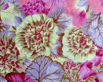 Philip Jacobs rare, OOP Tall Hollyhocks, opal, pastel, remnant, Kaffe Fassett collective floral fabric