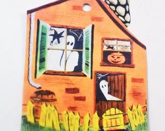 Halloween House - Halloween Tags - Ghost House - Set of 4 - Retro Halloween - Orange House - Haunted House - Gift Tags - 1950's Kitsch Tag