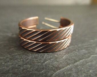 Bronze earrings with stripe pattern, hoop earrings, hoops with posts, bronze wedding anniversary, 8th anniversary, metalwork jewelry {S}
