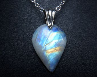Rainbow Moonstone Necklace, Rainbow Moonstone Pendant, Colorful Cobalt Blue, Sky Blue, Turquoise, Orange, and Gold Fire, Sterling Silver