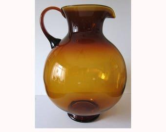 Indiana Handcraft Burnt Honey giant glass pitcher