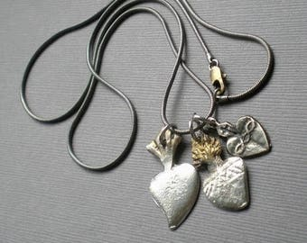 ON SALE Sacred Heart Mexican Milagro Blessing Necklace. Ex Voto. GIFT  Wedding.  Milagro Spiritual Talisman Gift. Prayer Blessing. Unisex Ne