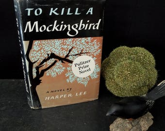 To Kill a Mockingbird - Harper Lee Vintage Book - Dust Jacket - Fiction South Scout Atticus - Pulitzer Prize Novel 1960
