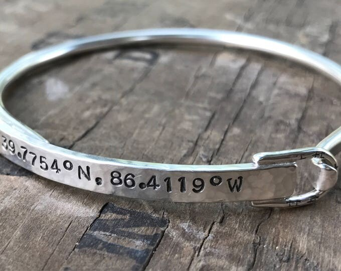 Personalized Bracelet Solid Sterling Silver Bangle with hidden message solid sterling silver