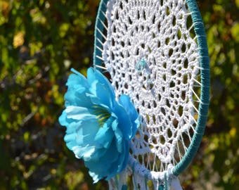 Turquoise and White Dream Catcher