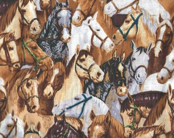 """HORSES FABRIC Cotton Fabric, 1 yard x 45"""" inches wide.  Brand new."""