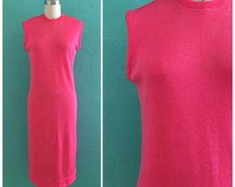 60's  watermelon knit shift dress ~ medium