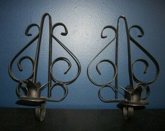 Vintage Pair of Black Iron Candle Sconces