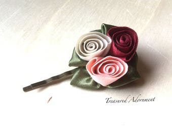 READY TO SHIP, Rose Hair Pin, triple rose, Flower Bobby pin, vintage Style hair pin, antiqued bronze, ribbon flower hair pin  Red Pink White