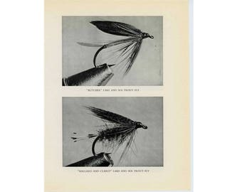 1970 FLY FISHING - lake & sea trout flies fly fishing lures plugs flies original vintage fish print