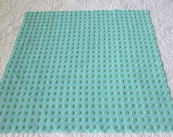"Aquamarine Morgan Jones Pops  Vintage Chenille Bedspread Fabric 19"" x 17"""