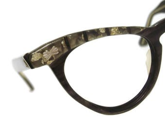 Vintage Olive 60s Women's  Cateye Eyeglasses Eyewear Frame