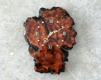 wood burl clock - 1211458