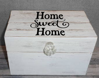 Farmhouse Home Sweet Home Recipe Box Shabby Chic Cottage Style with Shiplap wood lid Personalized