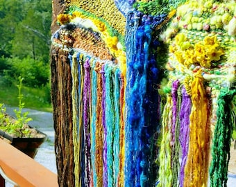 Loom With a View Original Hand Dyed Spun Woven Embroidered Wall Tapestry Weaving Long Fringe three dimensional Ozark scene needlefelted sewn
