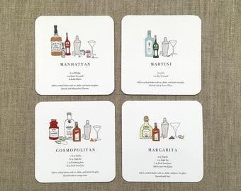 Illustrated Cocktail Recipe Coaster Set