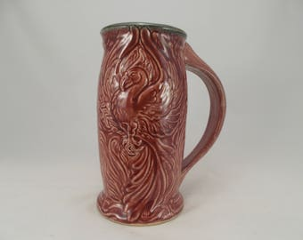 Phoenix Beer Stein, Red Glaze, Carved Fantasy Art Design, Bar Drinkware, Festival Costume Cup