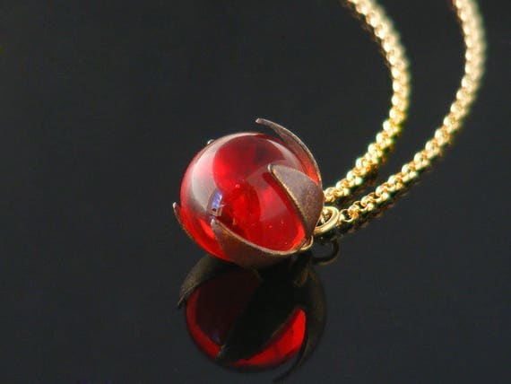 Victorian Red Glass Orb Pendant | Free Spinning Antique Glass Ball Pendant | Cherry Red Glass Ball, Flower Petal Setting - 22 Inch Chain