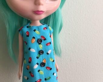 Holiday Party Lights Mod Shift Dress for Blythe