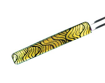French Hair Barrette, Extra Large Clip, Gold Waves on Black