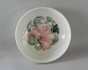 Anais Anais by Cacharel. Bone China Bowl Dish. Soft Peachy Pink Flower and Pastel Green Leaves Pattern.