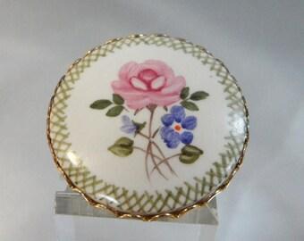 SALE Vintage Handpainted Brooch. Pink & Purple Flowers. Cameo Pin.