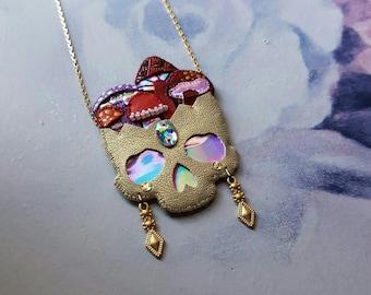 Mushroom Skull Necklace