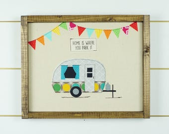 travel trailer decor, framed picture, happy camper sign, camper wall art, framed art, camping decor, wood signs, wall hanging, happy camper