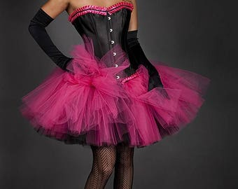 Custom Size hot pink and black tulle corset dress Burlesque available in any size