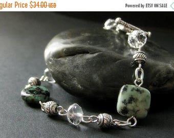 SUMMER SALE Turquoise Bracelet. Beaded Bracelet. Turquoise Gemstone Bracelet. Gemstone and Crystal Bracelet. Handmade Bracelet. Handmade Jew