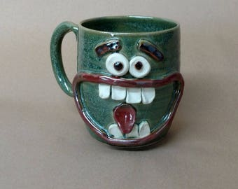 Angry Morning Coffee Cup. Large Ceramic Beer Stein. Cranky Face Mug. Big Pottery Cups and Mugs in Green. Goofy Mans Tankard. Microwave Safe