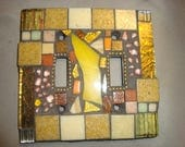 MOSAIC LIGHT SWITCH Plate Cover - Double, Wall Plate, Home Decor, Yellow, Gold, Tan, Beige