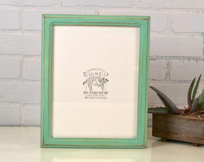8.5 x 11 Picture Frame in Double Cove Style with Vintage Robin's Egg Finish - IN STOCK Same Day Shipping - 8.5x11 inch Picture Frame