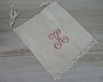 Antique Vintage Linen Lingerie Bag Monogram K Redwork