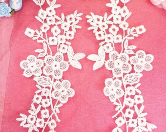 """Lace Appliques White Floral Vine Embroidered Mirror Pair Costume Motifs Craft Sewing Supplies DIY 14"""" (DH89X-wh)"""