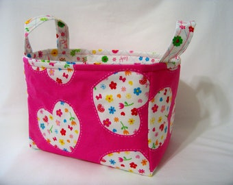 PK Fabric Basket in Hearts in Hot Pink - Ready To Ship - Washable - Reversible