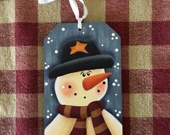 Snowman Blue Gift Tag Christmas Ornament