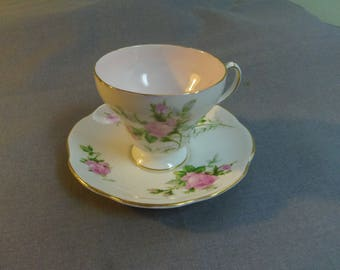 Teacup and Saucer, EB Foley (E. Brain & Co, Foley Works) Pink Roses, White and Gilt Design, 1950s