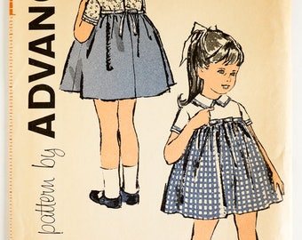 "Vintage 1960s Toddler Girls Size 6M One Piece Dress Advance Sewing Pattern 9667 Uncut / b19 w19"" / Empire Waist, Short Sleeves"