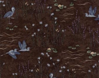 Holly Taylor Fabric Brown Birds Woodland Quilts Summer on the Pond Fabric by the Yard Cotton Quilting Sewing Fabrics