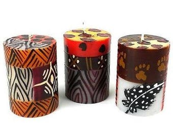 Set of Three Boxed Hand-Painted Candles -ETHNIC