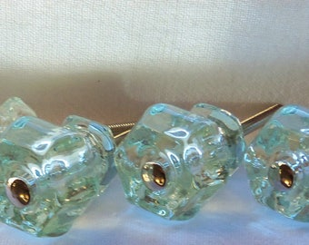 10 Glass Knobs Coke Bottle Green Drawer Pulls Trim Project Toppers