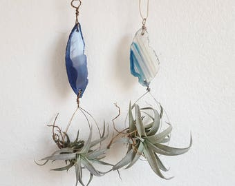 Set of Air Plant Hangers, Blue Agate Slices, Night and Day, Sky Blue, Hanging Air Planter, Wire Wrapped, Boho Gift, One of a Kind