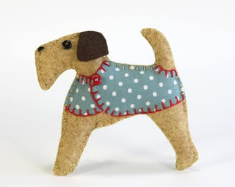 Felt Christmas ornament, Felt dog ornament, Dog Christmas Ornament, Handmade felt Airedale terrier, Fox terrier, Terrier ornament, Bertie
