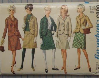 Simplicity 6685 - 1960s Ladies Suit with Jacket and Skirt - Size 18/Bust 38