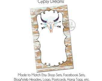 Steer Skull Business Card, DIY Blank Business Card Template - Steer Skull, Arrow Card, Rustic Business Card, DIY Business Card, Hang Tag